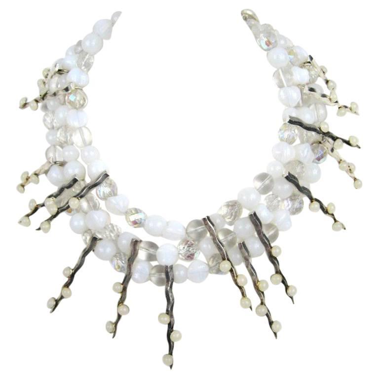 1990s Philippe Ferrandis Glass Choker Bib Necklace New Never worn  1