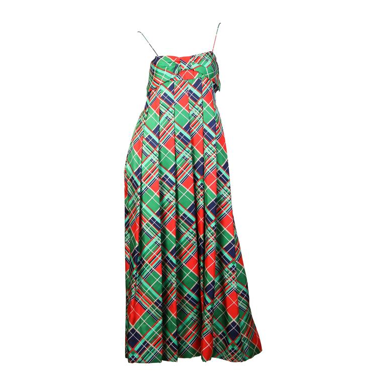 1970s Richilene Silk Plaid Dress
