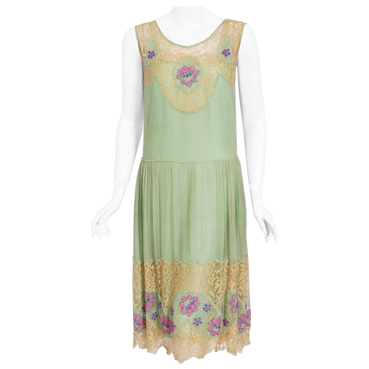 Vintage 1920's Mint-Green Chiffon & Floral Motif Beaded Lace Drop-Waist Dress