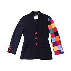 Amazing Vintage Moschino Couture Black Blazer w Patchwork Sleeve + Heart Buttons