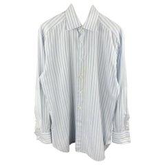 ERMENEGILDO ZEGNA Size M Light Grey Stripe Cotton French Cuff Long Sleeve Shirt