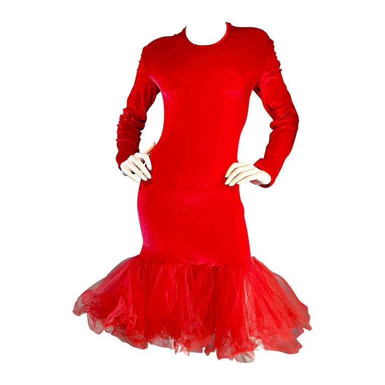 Extraordinary Patrick Kelly 1990s Vintage Red BodCon Mermaid Dress w/ Tulle Hem