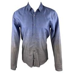 HUGO BOSS Size M Indigo & Charcoal Ombre Cotton Button Up Long Sleeve Shirt