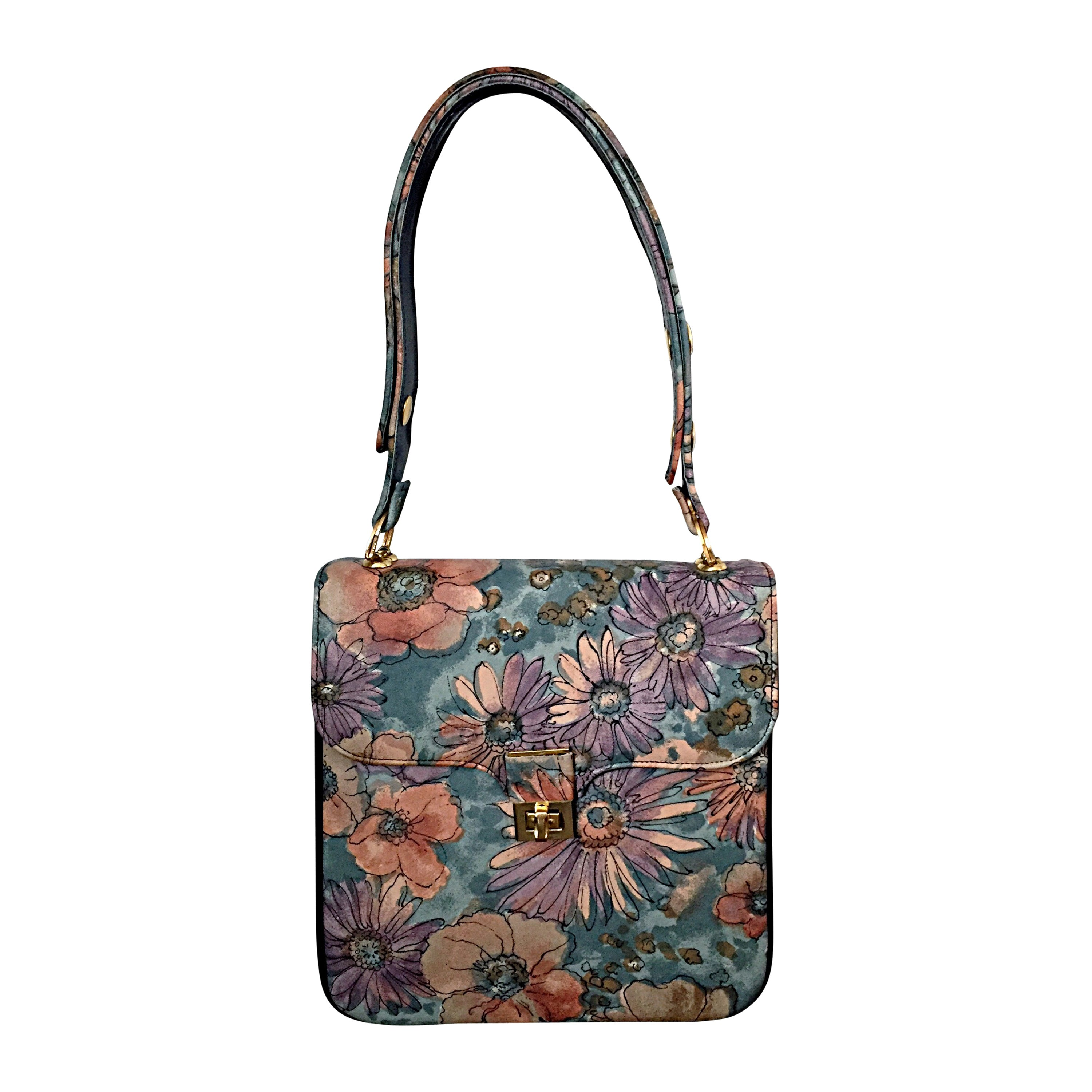 bb268c32edcf Incredible Vintage Bags by Varon Hand Painted Leather Flower Purse Handbag  For Sale at 1stdibs