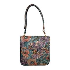 Incredible Vintage Bags by Varon Hand Painted Leather Flower Purse Handbag