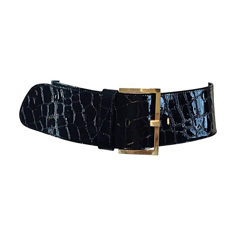 New Vintage Jane August Crocodile Alligator Embossed Black Patent Leather Belt For Sale