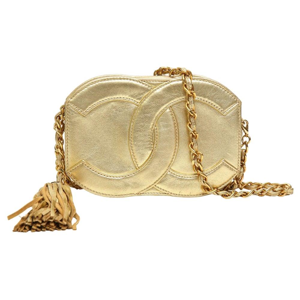 Chanel gold tone leather shoulder bag