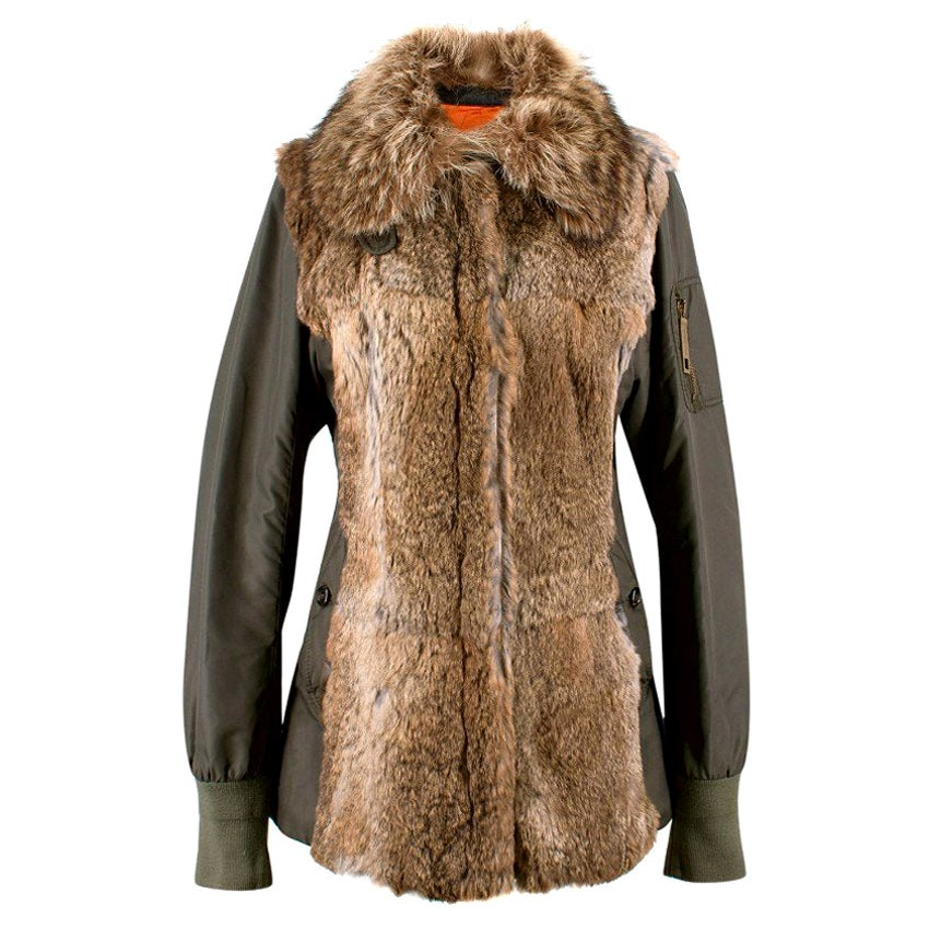 Dolce & Gabbana Fur & Nylon Parka Coat US 8