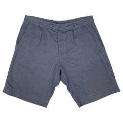 LA PERLA Size S Navy Sheer Linen / Cotton Pleated Zip Fly Shorts