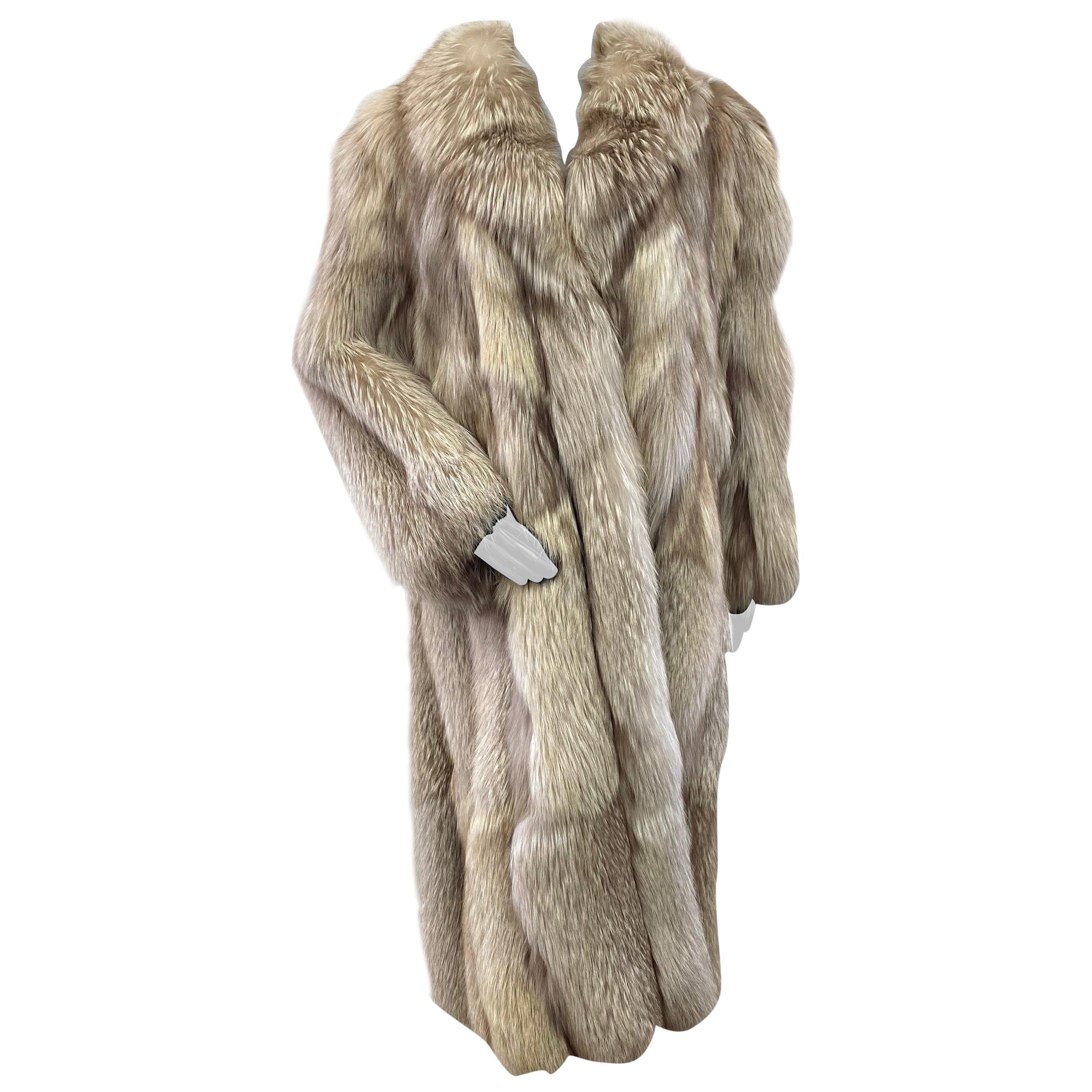 Anthony Holmgren Natural Silver Fox Fur Coat (Size 12-L)