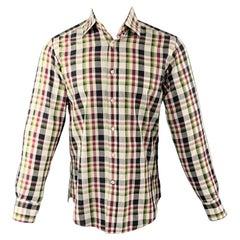 ETRO Size S Multi-Color Plaid Cotton Long Sleeve Shirt