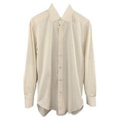 KITON Size M Yellow & Purple Stripe Cotton Button Up Long Sleeve Shirt
