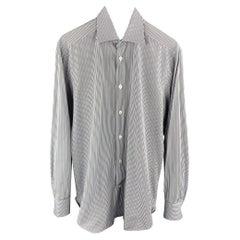 KITON Size S Brown & Blue Stripe Cotton Button Up Long Sleeve Shirt