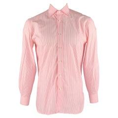 BORRELLI Size M Pink Stripe Cotton Button Up Long Sleeve Shirt