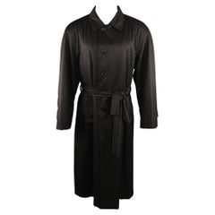 WILKES BASHFORD tailored by BRIONI US 48 Black Solid Silk Long Trench Coat