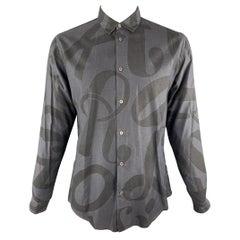 VIKTOR & ROLF Size L Charcoal Print Cotton Long Sleeve Shirt