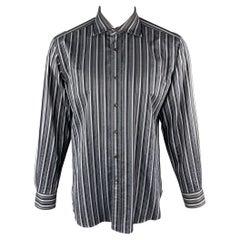 ETRO Size L Grey & Blue Stripe Cotton Long Sleeve Shirt