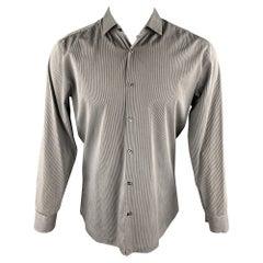 HUGO BOSS Size M Grey Stripe Cotton Blend Button Up Long Sleeve Shirt