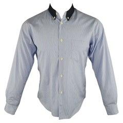 COMME des GARCONS SHIRT Size M Blue Stripe Cotton Long Sleeve Shirt
