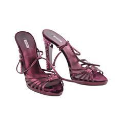 MIU MIU Metallic Purple Leather & Velvet SANDALS Pumps CRYSTAL HEELS Shoes 39