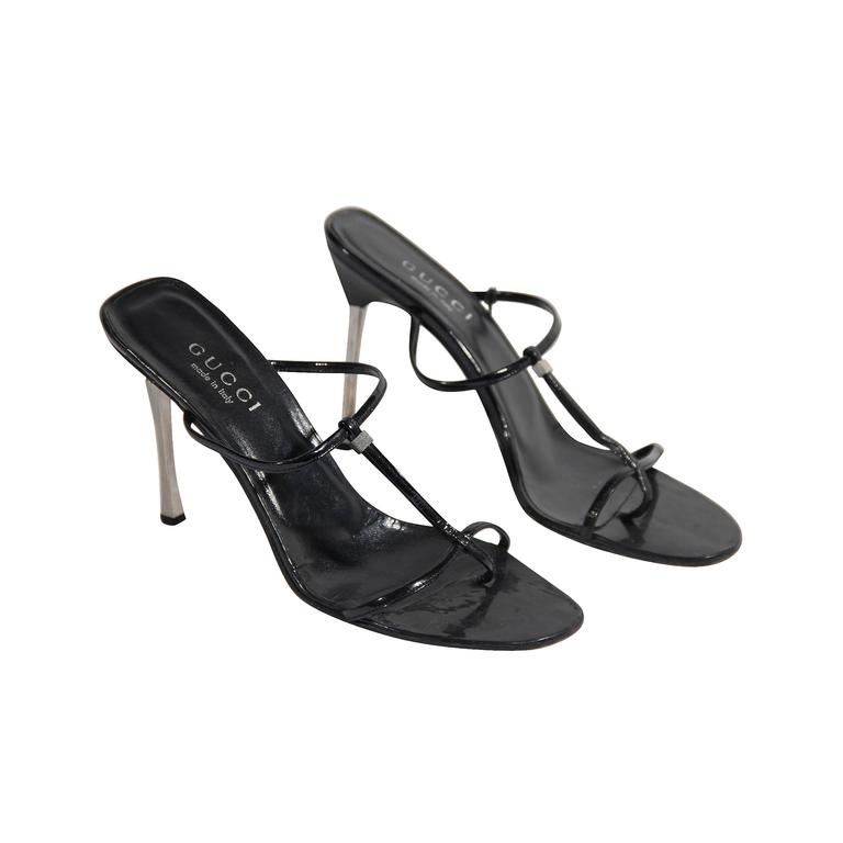 b34dfb962e24 Gucci Black Leather Heeled Sandals Shoes with Stiletto Heels For Sale