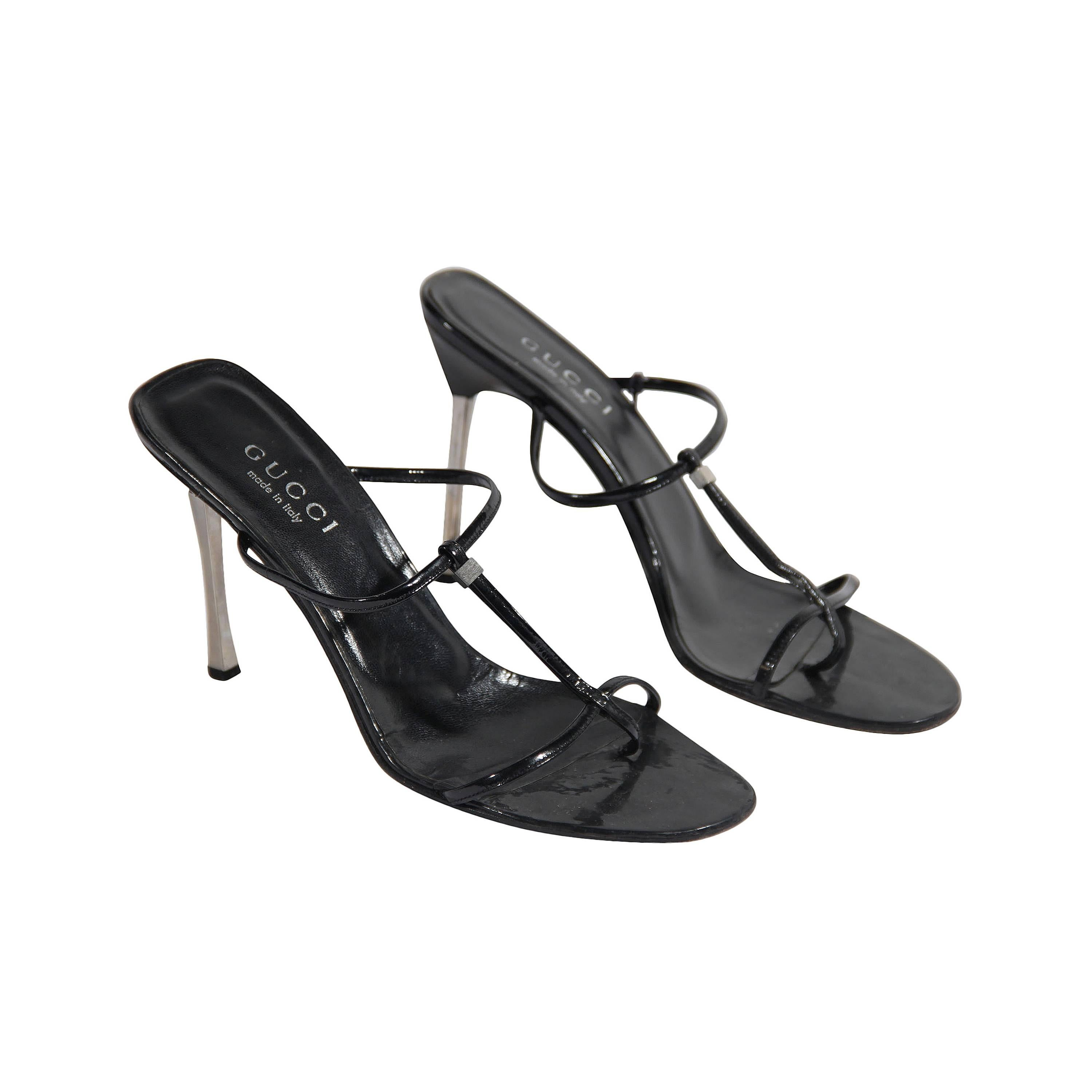 def55b450 Gucci Black Leather Heeled Sandals Shoes with Stiletto Heels at 1stdibs