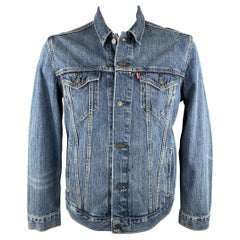 LEVI'S Size L Indigo Contrast Stitch Denim Trucker Jacket