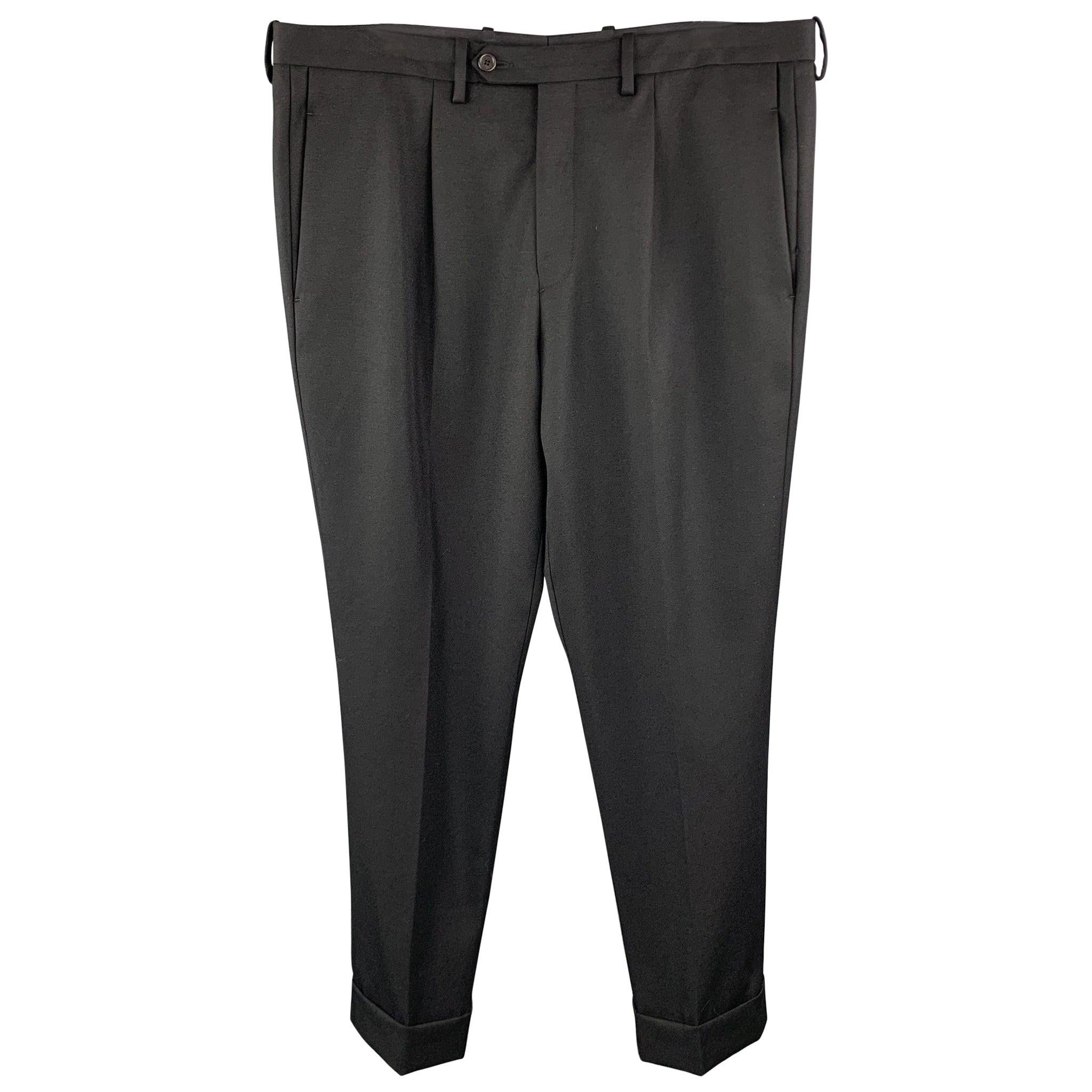 NEIL BARRETT Size 36 Black Twill Wool Pleated Cuffed Dress Pants