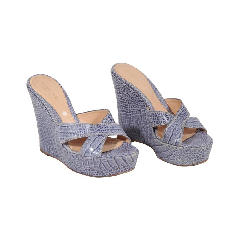 sergio light blue embossed leather wedge shoes