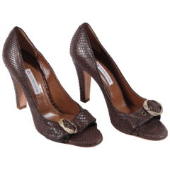 L'autre Chose Brown Snake Leather Open Toe Pumps Shoes