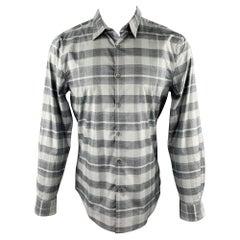 JOHN VARVATOS Luxe Size M Grey Plaid Cotton Button Up Long Sleeve Shirt