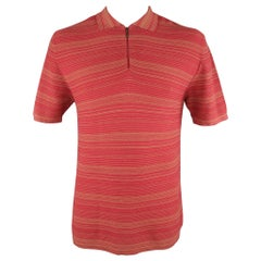 ZEGNA SPORT Size L Burgundy & Khaki Stripe Cotton Blend Half Zip Polo