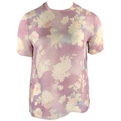 GIORGIO ARMANI Size 10 Light Purple Floral T Shirt Blouse