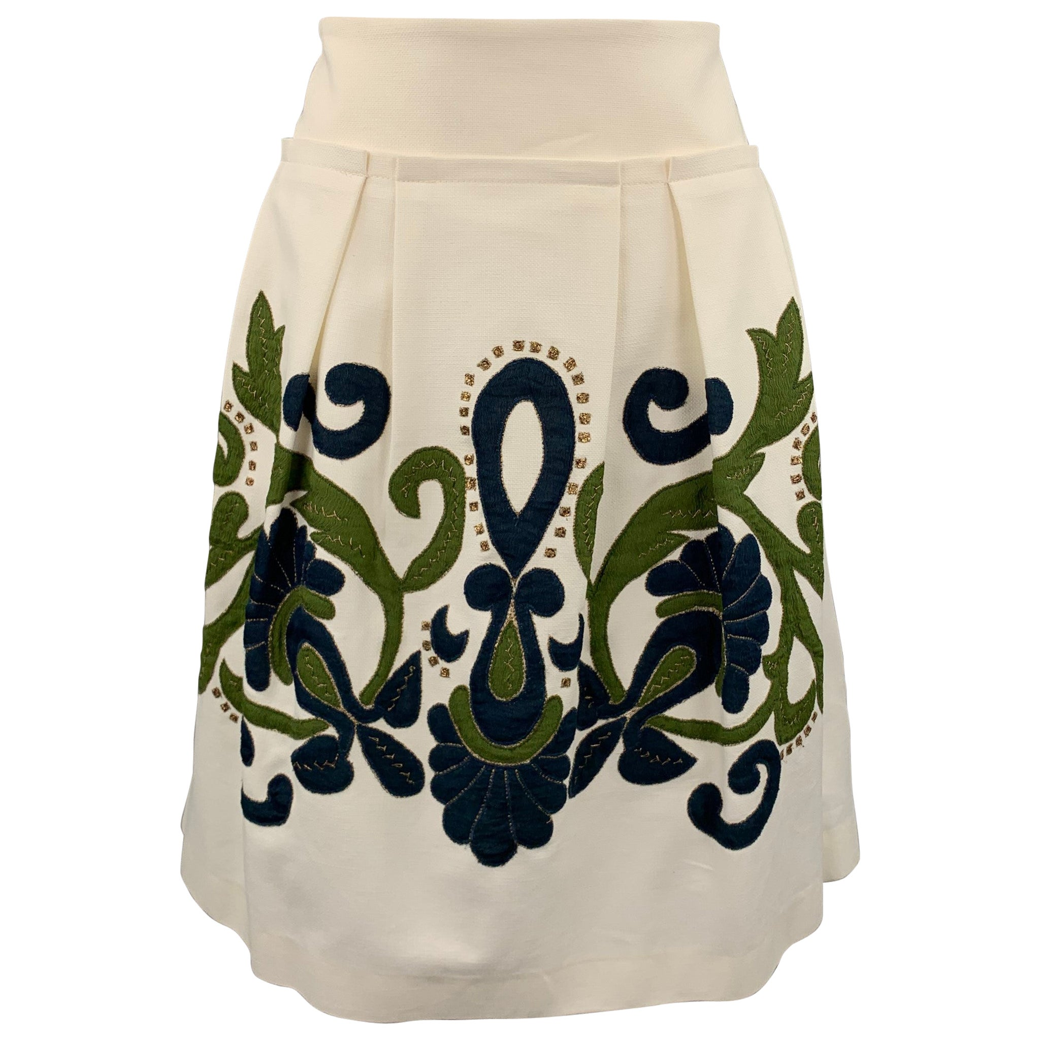 LELA ROSE Size 8 Cream Embroidered Cotton Blend Pleated Skirt