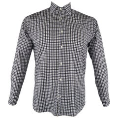 ETRO Size S Navy Checkered Cotton Button Up Long Sleeve Shirt