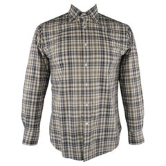 ETRO Size S Olive & Navy Plaid Button Up Long Sleeve Shirt