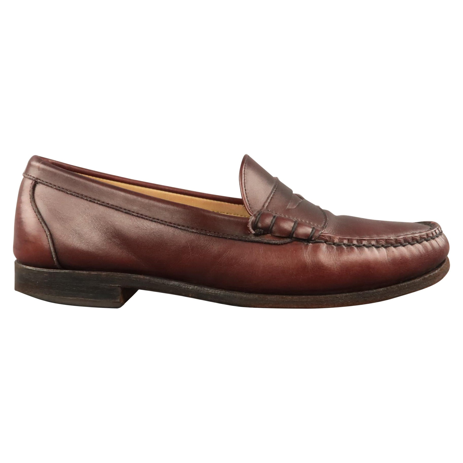 ALLEN EDMONDS Size 10 Burgundy Leather Slip On Penny Loafers Shoes