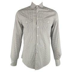 MICHAEL BASTIAN Size S Blue & Brown Plaid Cotton Button Up Long Sleeve Shirt