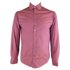 MICHAEL BASTIAN Size S Magenta Solid Cotton Button Up Long Sleeve Shirt