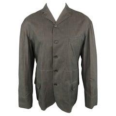 DOLCE & GABBANA 40 Gray Solid Cotton Notch Lapel Sport Coat Jacket