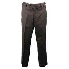 BORRELLI Size 32 Charcoal Solid Lana wool 28 Zip Fly Dress Pants
