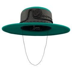 LONNI Green Black Ribbon Wool Hat