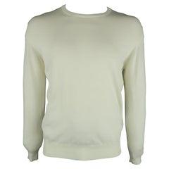 BORRELLI Size 42 Beige Solid Cotton Crew-Neck Pullover