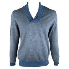 HUGO BOSS Size XL Blue & Grey Knitted Merino Wool Shawl Collar Pullover Sweater
