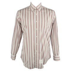 THOM BROWNE Size XXL Light Grey Stripe Cotton Button Down Long Sleeve Shirt