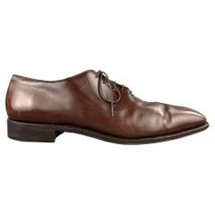 SALVATORE FERRAGAMO Size 12 Brown Leather Plain Toe Lace Up Shoes