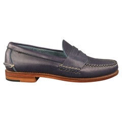 RALPH LAUREN Eltham II Country Grain Size 7.5 Navy Solid Leather Penny Loafers