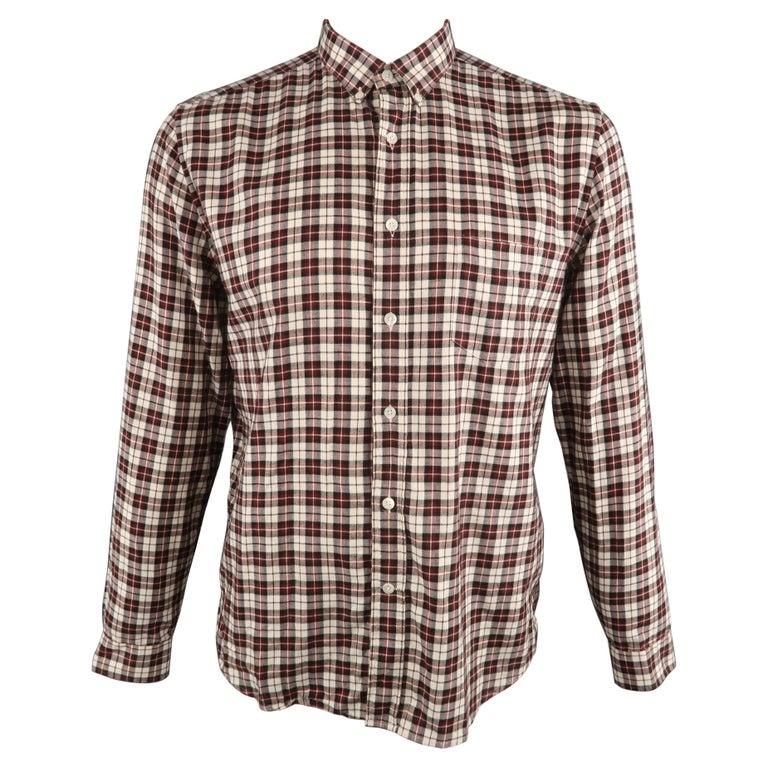 AMI by ALEXANDRE MATTIUSSI Size L Plaid Cotton Button Down Long Sleeve Shirt For Sale