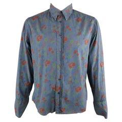 DRIES VAN NOTEN Size XL Navy & Brick Floral Cotton French Cuff Long Sleeve Shirt