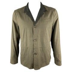 NICE COLLECTIVE L Olive Linen Notch Lapel Jacket